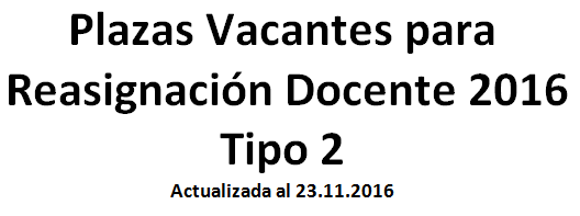 Plazas vacantes para reasignaci n docente 2016 tipo 2 for Plazas vacantes concurso docente 2016